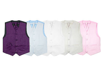 Boys Suits Waistcoat Set Wedding Pageboy Party 3pc Baby Diamond Suit 5 Colours