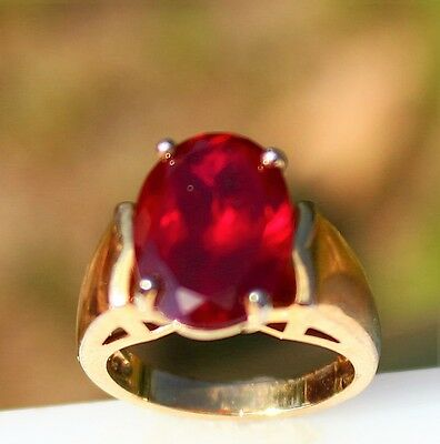 Size 5.5 Sterling 925 with gold vermeil  faux ruby - red crystal 7.9g   RING