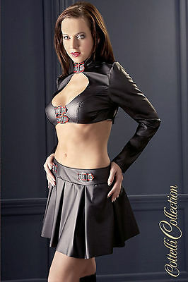 Top e gonna in ecopelle con fibbie - Cottelli Collection - Intimo lingerie sexy
