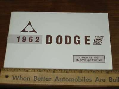 1962 Dodge Custom Eight Eighty Owners Manual NOS