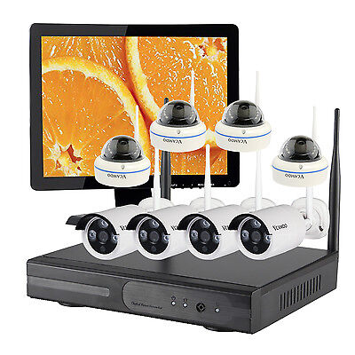 Home Wireless Security Camera  System CCTV Kit with Hard Drive and Monitor US