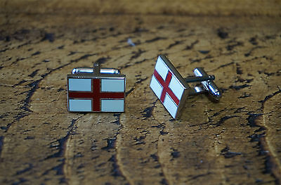 England English St George Flag Chrome Cufflinks Great Quality New Free Pouch