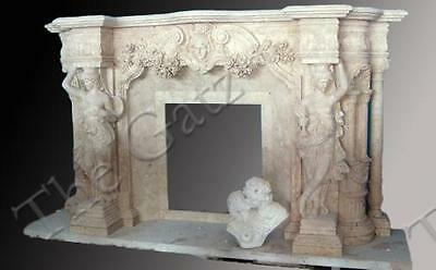 Massive Figural Hand Carved Marble Fireplace Mantel, Women Figures Columns Swags