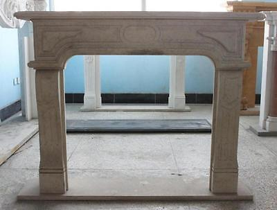 Simple Tuscan Style Marble Fireplace Mantel, Aged Finish