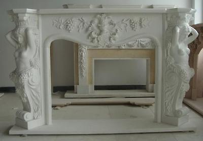 Classic Marble Fireplace Mantel and Surround, Figural and Floral Carvings