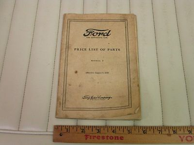1909-27 Ford Model T Car & Truck Parts Catalog Price List