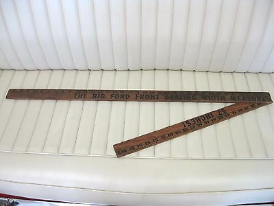 """Early FORD Car Promotional Ruler Wooden Yardstick Front Seating 57"""""""