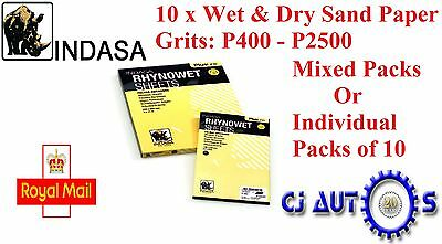 Indasa Plus Line Rhynowet Or Dry High Quality Sand Paper Mixed Grit Pack Of 10