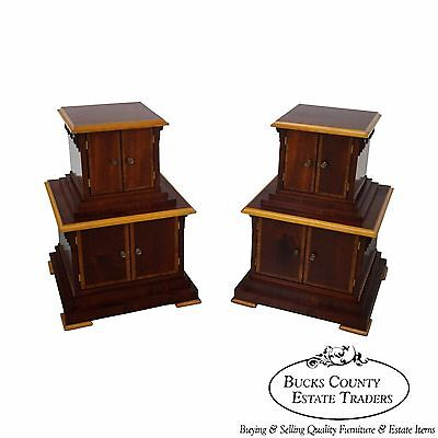 Studio Crafted Frank Lloyd Wright Influenced Pair of Low Pedestal Cabinets