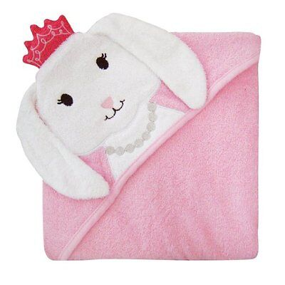 Hudson Baby Animal Face Hooded Towel for Baby Girls Princess Bunny