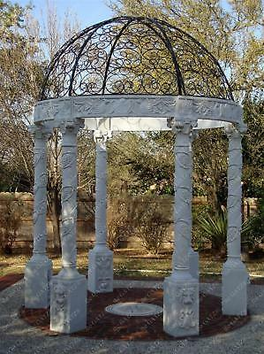 Hand Carved White Marble Garden Gazebo, Heavy Carvings with Open Domed Roof