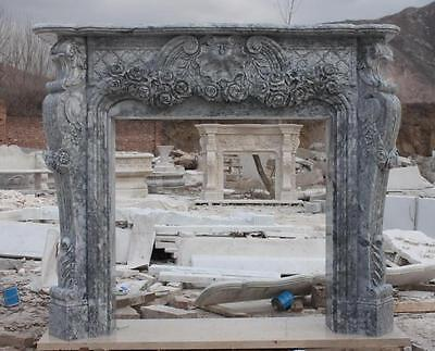 Hand Carved Marble Fireplace Mantel with Floral Carvings, French Design