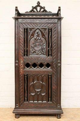 Antique French Gothic Cabinet Oak Unique Carved Detail, 19th Century,Single Door