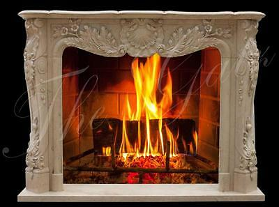 Traditional French Design Hand Carved Egyptian Beige Marble Fireplace Mantel