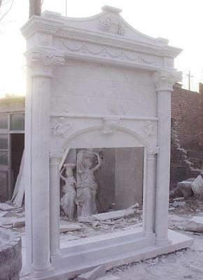 Tall Hand Carved Marble Fireplace Mantel with Over mantel,  Elegant Design