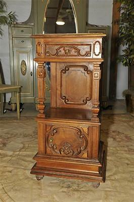 Antique Night Stand French Walnut Marble Top,Tall 19th Century