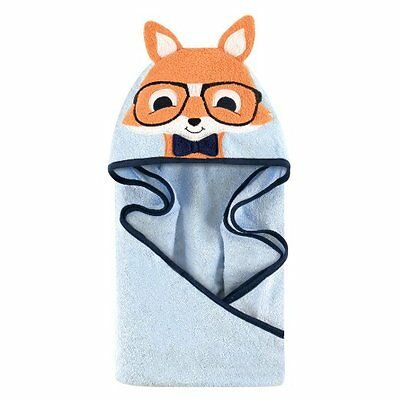 Hudson Baby Animal Face Hooded Towel for Baby Boys Blue Nerdy Fox up to 2 Years