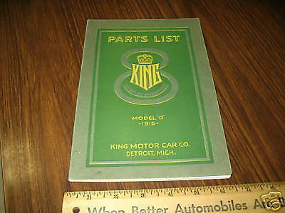 """1915 KING Model """"D"""" Illustrated Parts & Price Book"""
