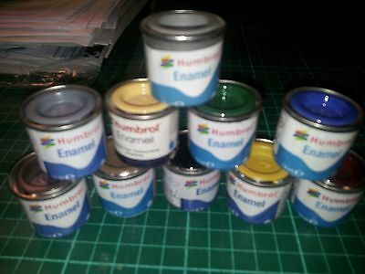 10 Airfix Humbrol Enamel paints with two fine detail model makers paint brushes.