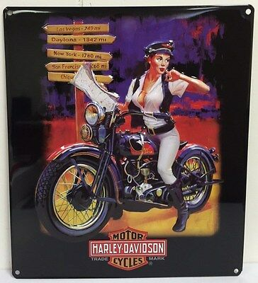Ande Rooney HARLEY DAVIDSON CROSS ROADS BABE Pin Up Girl Tin HD Garage Sign NEW