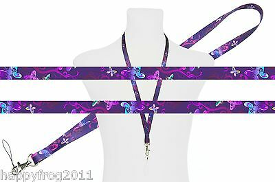 VIOLET BUTTERFLIES Unique SATIN LANYARD NECK STRAP RIBBON for Mobile Keys Usb ID