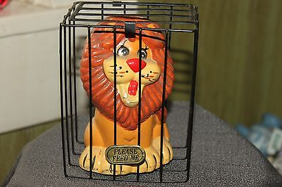 "Vintage Ceramic Lion In A Cage Bank With ""feed Me "" On The Cage"