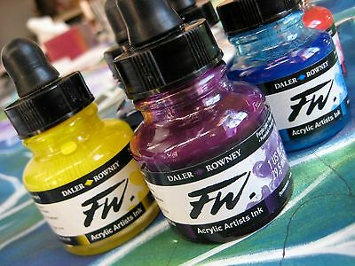 6 x Daler Rowney FW Acrylic Artist Ink All Colours You Choose Colours