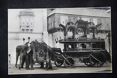 c.1920 RPPC Real Photo Postcard Elephants Pulling a Carriage in Delhi, India