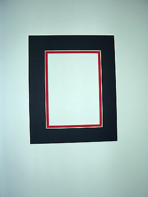 Picture Framing Double Mat 8x10 For 4x6 Photo Black With Red Liner