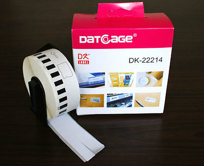 6 Rolls of Compatible Brother DK-22214 12mm Continuous Paper Tape