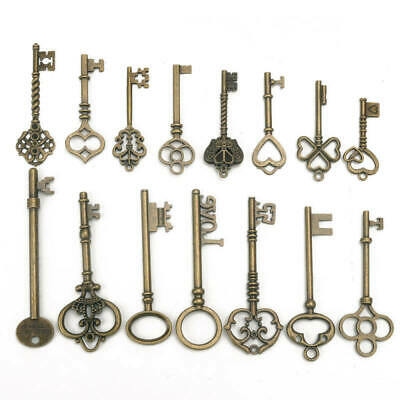 15x Antique Vintage Pendant Heart Bow Lock Steampunk Old Look Skeleton Key Set