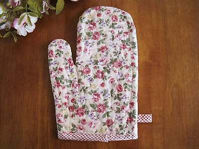 Again!! Lovely and Chic Pink Rose Cotton Quilted Oven Mitt Pot Glove ONE