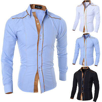 Stylish Mens Casual Slim Fit Shirt Top Long Sleeve Dress Formal Shirt T-shirt