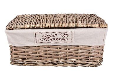 Grey Matt With Lid Wicker Storage Collection Display Gift Hamper Basket