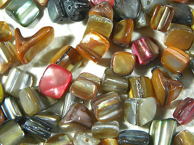 80 Pearlised Mixed Colour Chunky Shell Chips Beads