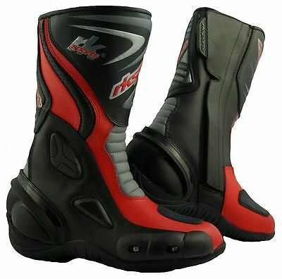 LV14 Motorcycle Motorbike Red Leather Water resistant Winter Race Boots