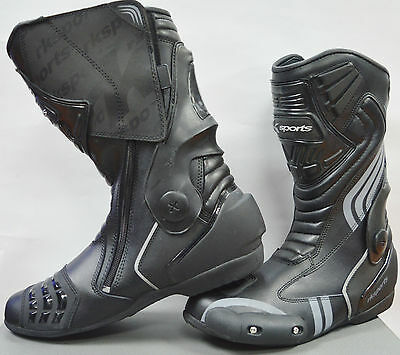 LV15 Motorcycle Motorbike Black Leather Water resistant Winter Race Boots