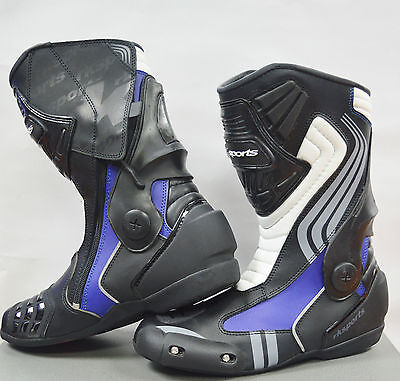 LV15 Motorcycle Motorbike Blue Leather Water resistant Winter Race Boots