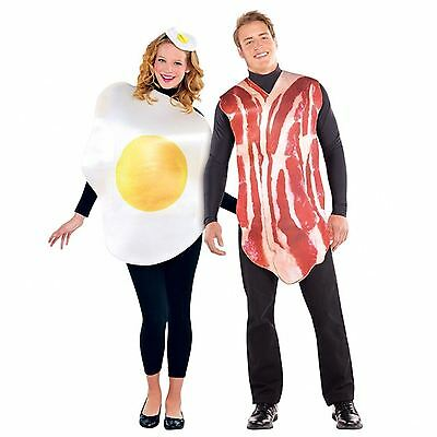 2x Adults Mens Womens Breakfast Buddies Bacon and Egg Couple Fancy Dress Costume