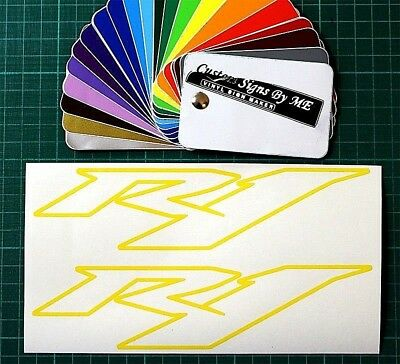 2 x YELLOW CLEAR R1 TANK FAIRING DECALS STICKERS