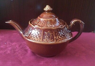 "Rare Vintage Royal Cauldon ""Bristol Garden"" Teapot In Brown"