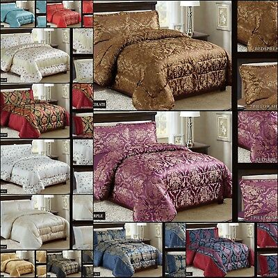 3PC Beautiful Heavy Jacquard Quilted Bedspread Comforter Set - 4 Sizes