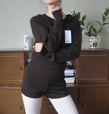 Set of professional lady girl ballet dance fitness knitted warm up top + shorts