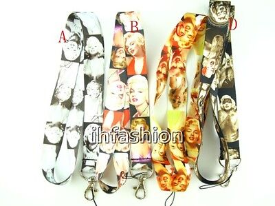 10pcs cartoon Marilyn Monroe mixed Lanyard Mobile Phone ID Card KeyChain Holder