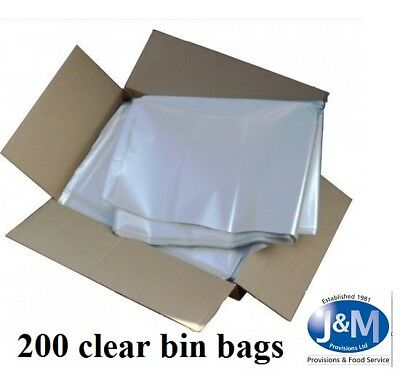 200 Large CLEAR Refuse Sacks Bin Liner Rubbish Bags thick 150g 18x29x39""