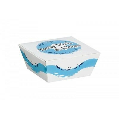 100 X Tasty Fish And Chip Meal Boxes Chip Box Closed Tray Fast Food Containers