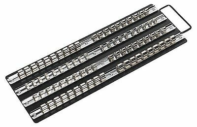 "Sealey Socket Rail Organiser Tray Black 1/4"", 3/8"" & 1/2""Sq Drive"