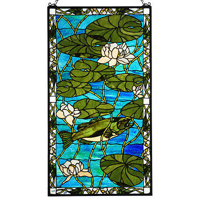 "23""W X 42""H Bass & Water Lilies Stained Glass Window"