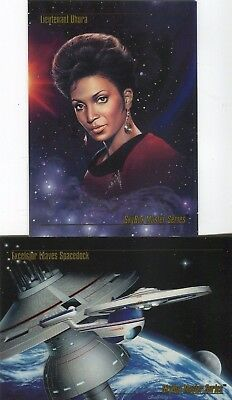 1993 Skybox Star Trek Master Series One PROMO CARD SET Excelsior and Uhura