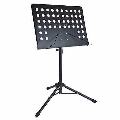 Black Sturdy Foldable Portable Sheet Music Stand Holder Adjustable Tripod Base